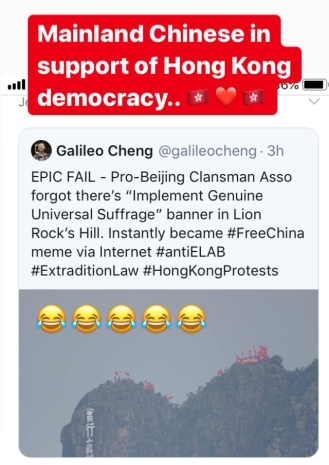 The next day some Pro CCP campaigners climbed to the top of Lion Rock.. haha.. They were also helicopter down - no idea why!!